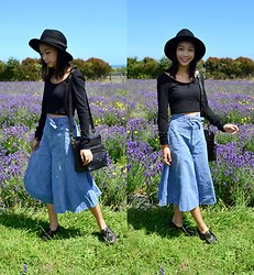 Faith Png - Oasap Felt Hat, Forever 21 Crop Top, Vintage Denim Pants - Lavender Dreams