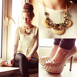 Wioletta Mary Kate - Necklace, Papilion Blouse - Lace & Big Bun