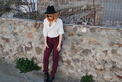 Betty Passia - Le Vertige Sweater, Fullah Sugah Boots, Bellino Trousers, H&M Hat - White and purple