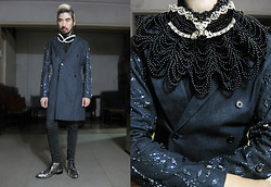 Andre Judd - Ken Samudio Crystal Encusted Mask, Jeffrey Rogador Denim Trench With Crystal Embellished Sleeves, Beaded Bib Neckpiece, Silver Beaded Couture Shoe - MASQUERADE BALL
