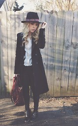 Mary Ellen Skye - Modern Vice Jett Boots, Zara Coat, Anthropologie Hat, Madewell Bag - Cold