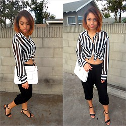 Yessenia L. - Urban Outfitters Striped Long Sleeve Chiffon, H&M Black Harem Pants, Urban Outfitters Clear Heeled Heels - This one day..