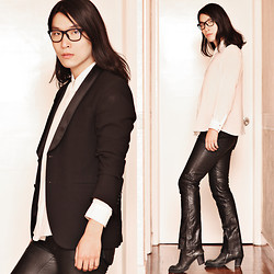 Philip Mak - Mango White Shirt, Gap Vintage Bootcut Leather Pants, Rick Owens Leather Boots, Zara Tuxedo Jacket - Retro Bootcut
