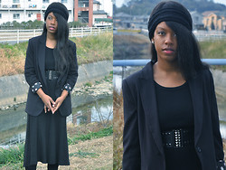 Allyce Best - Asos Knit Headband, Forever 21 Boyfriend Blazer, Lovemark A Line Maxi Dress - I'll Teach You To Mourn and Like It
