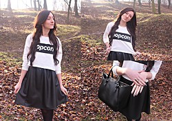 Monika Paciorek - Sheinside Blouse, Leather Skirt, Zara Shopper Bag, Reserved Rings - POPcorn