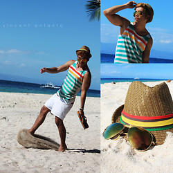 Vincent Entanto - Coco Cabana Stripped Tank Top, Penshoppe Board Shorts, Super Metro Accessories Fedora - Welcome Back Mr. Sun