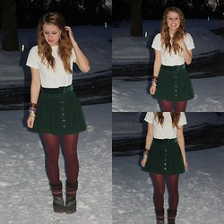 Chelsey Knuth - Boyfriend's Tee, Goodwill Dark Green Velvet Belt, Forever 21 Dark Green Button Up Skirt, Maroon Tights, Toms Nepal Boots - Chelsea Dagger