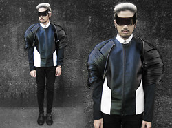 Andre Judd - Leather Strip Cage Jacket, Edgar Buyan Leather Jacket With Wool Raglan Sleeves And White Combi, Souzounoushi Black Visor Frames - ROBOCOP