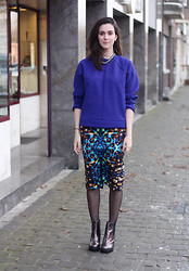 Annebeth B - Asos Neoprene Sweater, Asos Jewel Print Pencil Skirt, Boohoo Holographic Ankle Boots - Neoprene Sweater, Jewel Print Pencil Skirt