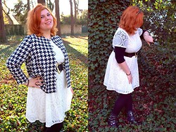 Ninaah Bulles - Vintage Retro Jacket, Asos White Dresse, Asos Rock Boots, Calzedonia Dot - Black & white winter