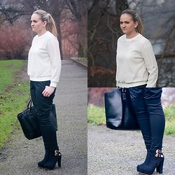 Angelika Martko - Pullover, Pants, Boots - BLACK AND WHITE