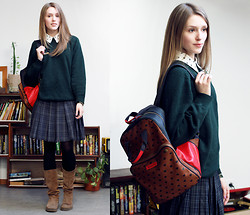 Tali Selen - Mango Shirt, Vintage Sweater, Vintage Skirt, Accessorize Backpack, Carlo Pazolini Boots - •Back to School