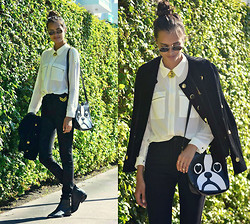 Gizele Oliveira - Topshop Necklace, Urban Outfitters Pants, H&M Boots, Mart Of China Bag - Black and white
