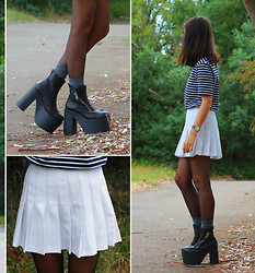 Carmen Grace - 2nd Hand Tennis Skirt, Unif Boots - Platforms + Pleats