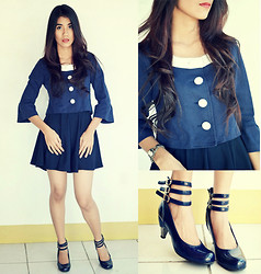Marjh Collado - Glacier Three Quartered Sleeves, Rara's Closet Navy Blue Skater Skirt, Dusto 3 Strap Buckle Shoes - Buckle Down Not Under