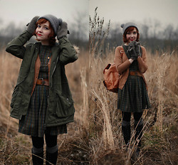 The Clothes Horse R - Shop Ruche Parka, Modcloth Cardigan, Vintage Dress, Vintage Belt, Rebecca Minkoff Backpack - Field Studies