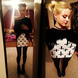 Sammy C - Black Milk Clothing Cross Of St Peters White Skirt, H&M Ladder Jumper, River Island Cross Earcuff - BETTER IN THE DARK