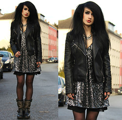 Tessa Diamondly - Zara Leather Jacket, Zara Sequin Dress, Ash Footwear Boots - Silver soul.