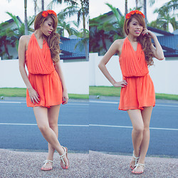 Debbie K - Honey Peaches Orange Playsuit, Honey Peaches Flower Headband, London Rebel Beige Sandals - Thinking of You...