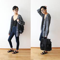 Tsingeli W - Black Eyewear Glasses, Zara Camisole, C&A Cardigan, Asos Backpack, Zara Biological Sandals - Charcoal