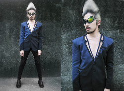 Andre Judd - Anthony Ramirez Couture Blzer With Cutout Lapel With Zipper Trim, Alien Shades - A L I E N