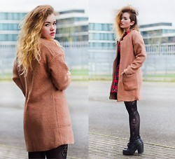 Rachel Ecclestone - Jolly Chic Camel V Neck Coat, H&M Tights, Sascha Boots, Glitters For Dinner High Neck Dress - Camel