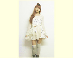 Tram Anh - Topshop Dress, Stockings, Vintage Boots - White Rabbit