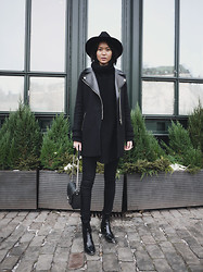 Miu N - Tiger Of Sweden Hat, Zara Coat, Hope Knit, Bikbok Pants, Givenchy Bag, Zara Shoes - All Black