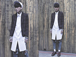IVAN Chang - Fred Perry Plaid Blazer, A.P.O White Long Shirt, Topshop Blie Skinny Jeans, Dr. Martens Loafers Shoes - 290114 TODAY STYLE