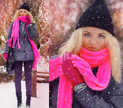 Elin Hansson - H&M Neon Pink Neckpiece, Vintage Gloves, Gina Tricot Stone Washed Denim, New Look Shoes, Cheap Monday Grey Coat, Gina Tricot Satchel, Old Cap - ♡ SWEDISH WINTER ♡