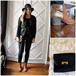 Laetitia - Nina Ricci Bag, New Look Boots, Promod Sweater - Black and glitters
