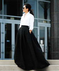 Hallie S. - Maxi Skirt, White Button Down Shirt - Black and White
