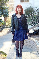 Jamie Rose - Calico Blue Crushed Velvet Dress, Ross Dress For Less Faux Leather Jacket, Kmart Polka Dot Tights, Black Ankle Boots - Crushed Velvet & Polka Dots