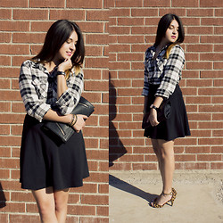 Avi Valencia - Forever 21 Plaid Shirt, Forever 21 Black Skirt, Forever 21 Black Clutch, Local Store Leopard Pumlps - Plaid + Leopard