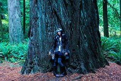 Ash Stash - Forever 21 Hooded Scarf, Thrifted Fur Trim Coat, Forever 21 Black Mini Skirt, Sock Dreams Striped Thigh High Socks, Thrifted Brown Leather Boots - Rainbow Road Trippin'