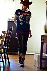 Drowsy Dame - Vintage Rancid Tee, Similar Here > Collared Blouse, H&M Skirt, Doc Marten Boots, H&M Tights - Rancid