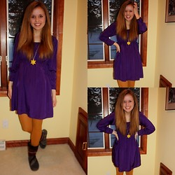 Chelsey Knuth - Xhilaration Purple Midi Dress, Plato's Closet Golden Sunflower Necklace, Mustard Yellow Tights, Toms Nepal Boots - Not a Vikings Fan