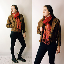 Olivia DeGrado - Free People India Scarf, Gap Black Jeggings, Docs, Thrifted Bomber Jacket - Take me to bed, or loose me forever!