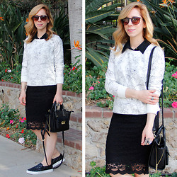 Melissa P. - Old Navy Floral Sweatshirt, Forever 21 Lace Pencil Skirt, H&M Slip On Sneakers - Black and White