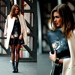 Carmen Leenen - Givenchy Man Bag, Sandro Coat, Zara Leather Dress - AFW OUTFIT NO.2