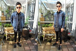 Dan Pantoja - I Love Ugly Denim Jacket, I Love Ugly Ernest Watch, I Love Ugly Black Formal Shirt, Topman Black Skinny Trousers, Zara Black Dress Shoes - GET LUCKY Δ