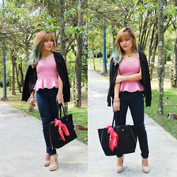 Sarah Mai - Platinum Mall Peplum Top, Padini Authentic Black Cardigan, H&M Jeans Legging, Yves Saint Laurent Tote Bag, Guess? Scarf, Steve Madden Nude Pumps - Happy Chinese New Year !