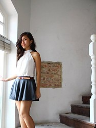 Jade Anastasia Fox - White Halter Neck, Grey Flare Skirt, Leather Belt, Silver Stars - Minimalist