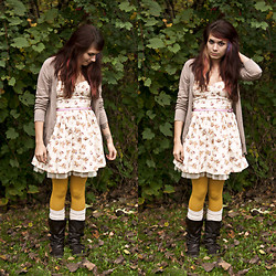 Emily Perkovich - Old Navy Taupe V Neck Cardigan, Loveculture Sweetheart Floral Print Tulle Belted Dress, Old Navy Mustard Tights, Icing Ruched Boot Socks, Blowfish Button Up Riding Boots - 10182013