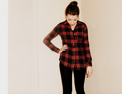 Lucy Amelia - New Look Red Check Shirt, Primark Black Leggings, New Look Black Long Sleeve Top, Accessorize 3 Tier Necklace - Checkmate