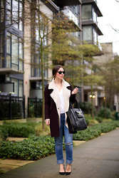Alexandra G. - Aritzia Coat, Free People Sweater Jacket, Abercrombie & Fitch Ripped Boyfriend Jeans, 3.1 Phillip Lim Tote, J.Crew Suede Pumps - White Collar