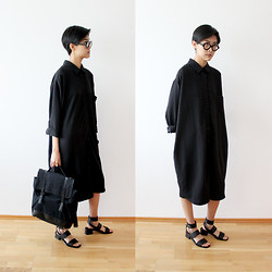 Tsingeli W - Black Eyewear Glasses, The Whitepepper Oversized Shirtdress, Asos Favourite Day Sandals, Asos Backpack - Minimalist