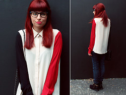 Ester R. - Firmoo Glasses, Frontrowshop Blouse, Sammydress Boots - Color Blocked