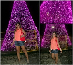Priscilla B. - Pink Shirt, Shorts Jeans Tribal, Melissa Oxford Liking, Pink Mini Satchel Bag - Merry Christmas