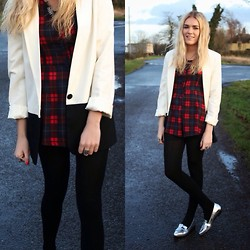 Charmaine Cowland - Missguided Tartan Playsuit, Asos Silver Flats, Miss Selfridge Cream Blazer - 02.02.14